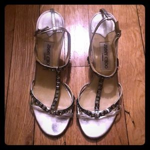 Jimmy Choo Silver Heels with Gray Rhinestones